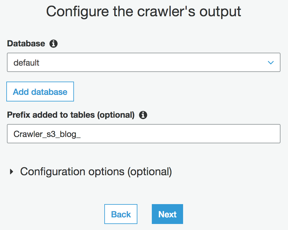 Crawler Configure Output
